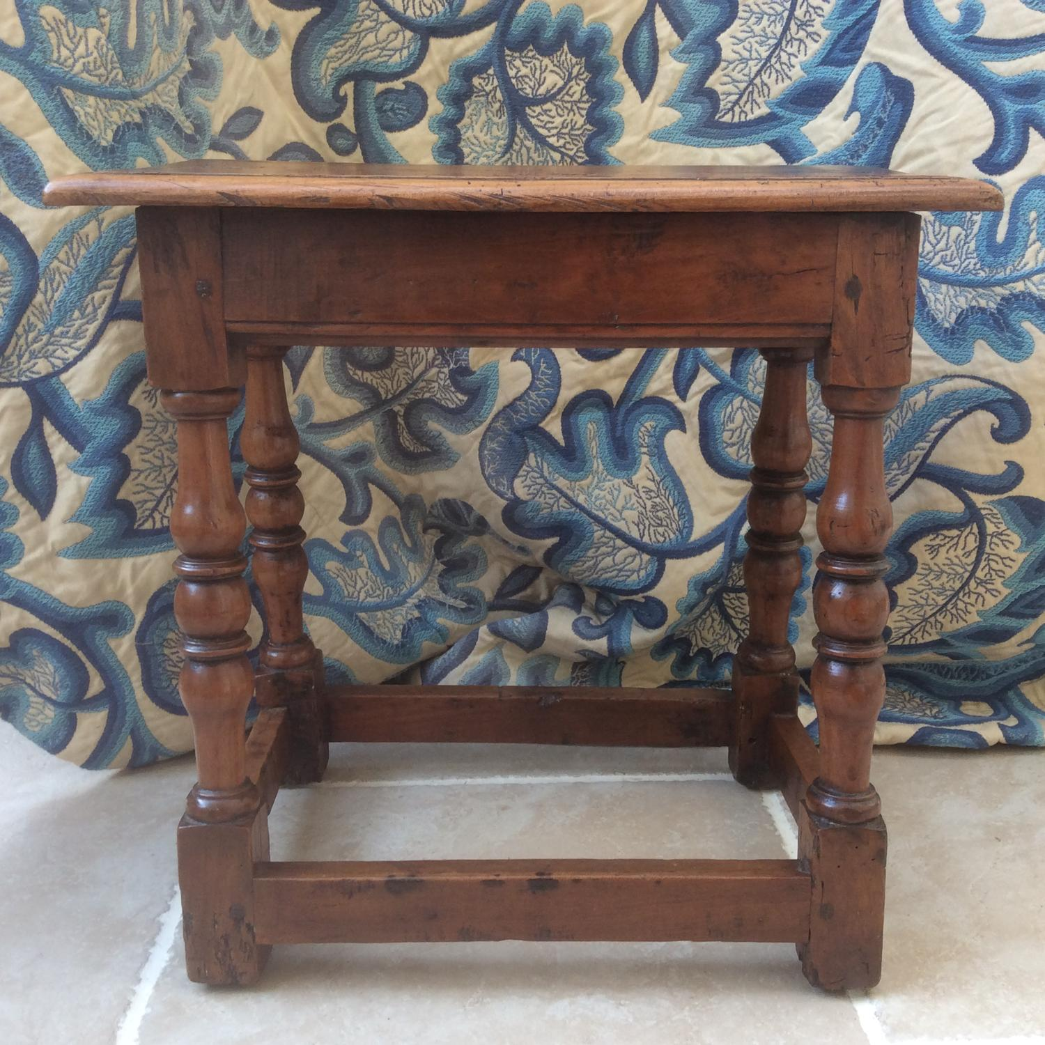 Early 18th century fruitwood joint stool