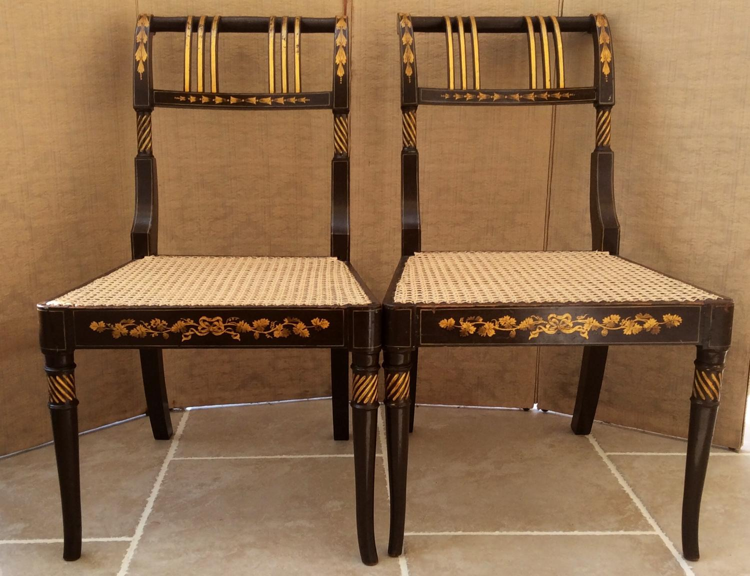 Pair of Regency Period painted side chairs
