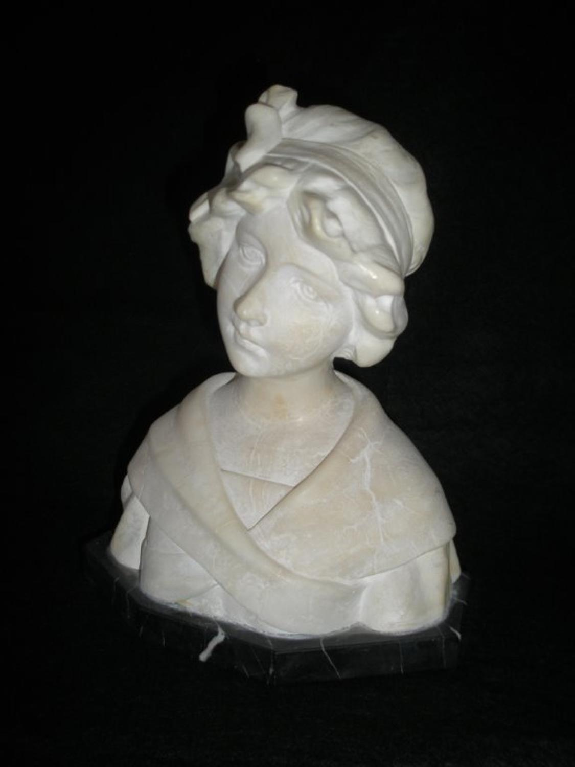 Italian marble bust of a young woman