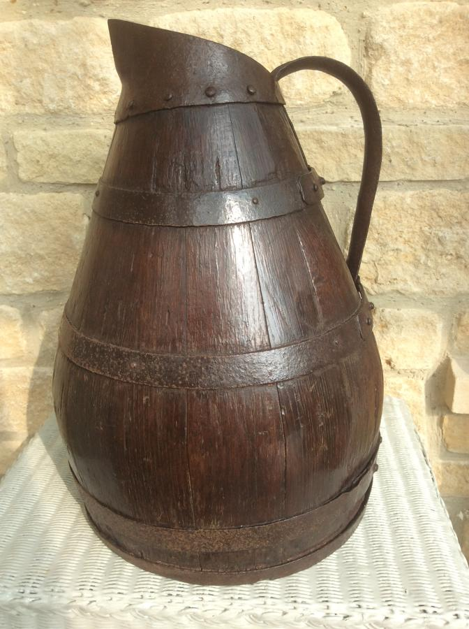 18th century country oak coopered jug