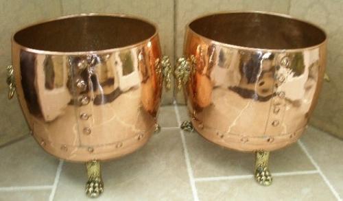 Pair of decorative copper log bins