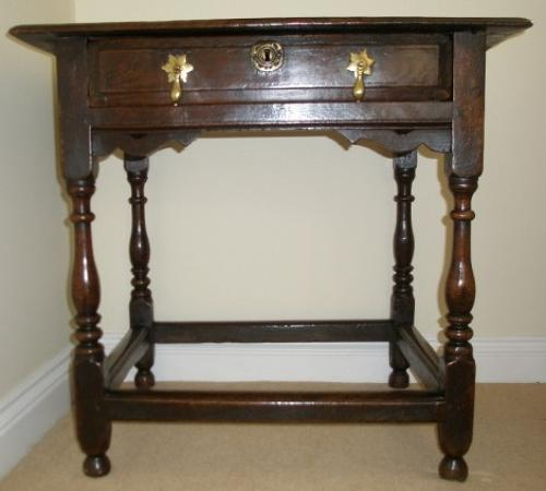 Charles II Restoration period oak side table