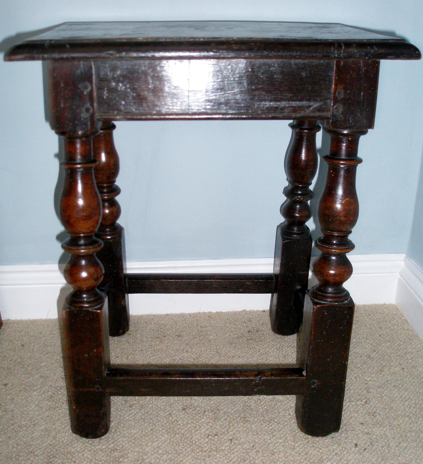 Later 17th century English oak joined stool