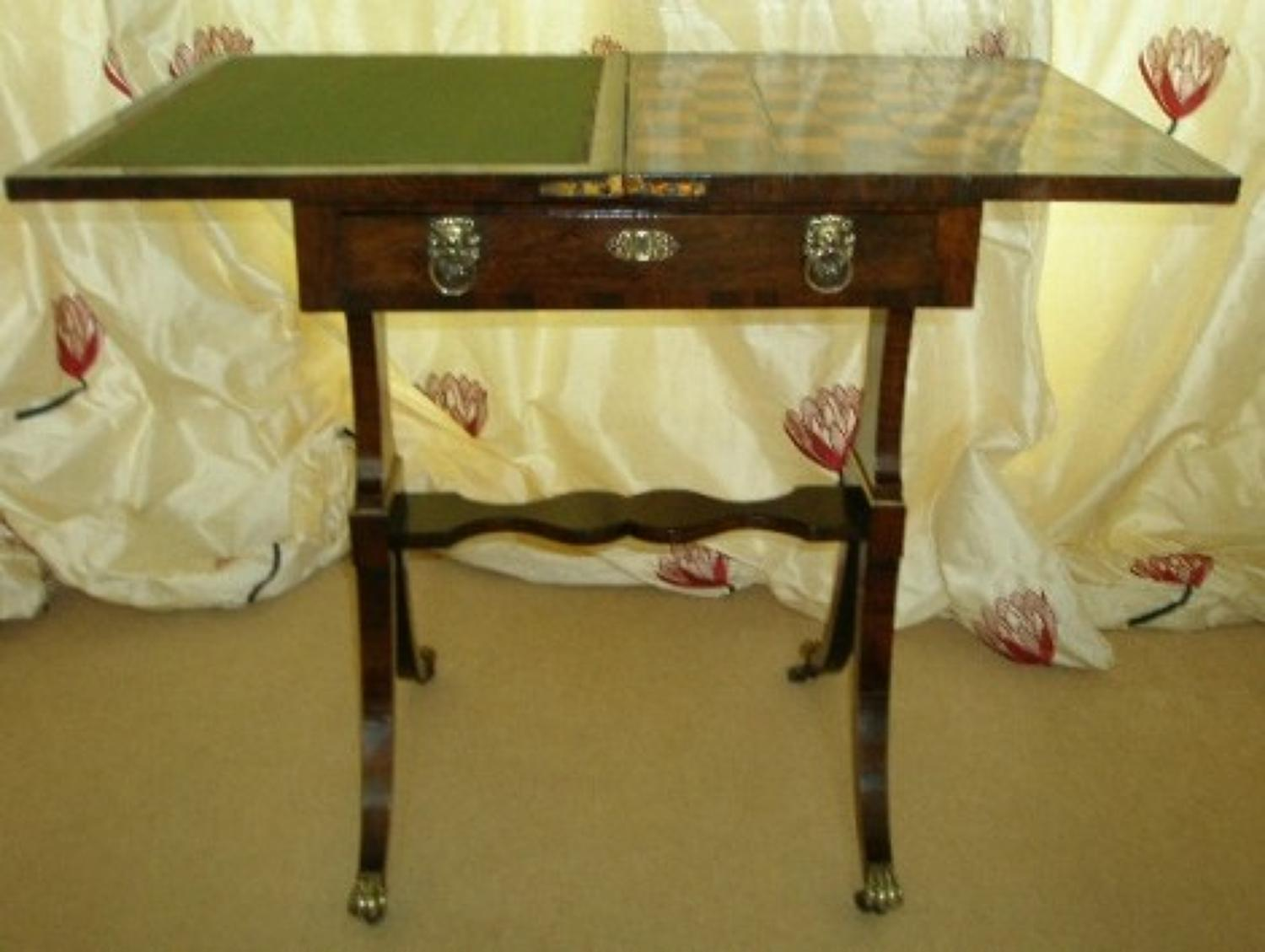 Regency period rosewood games and writing table