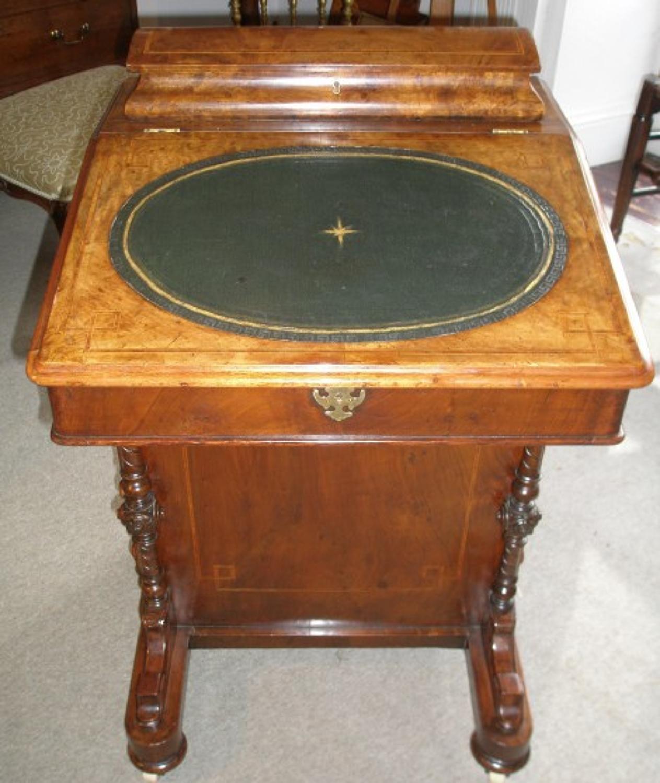 19th century walnut Davenport