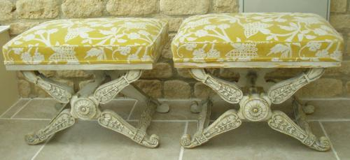 Pair of early 20th century decorative tabourets
