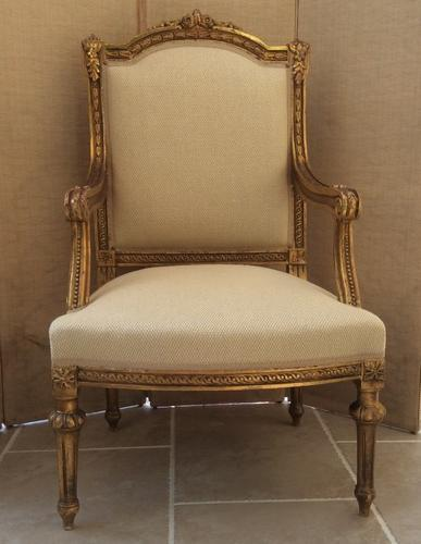 Decorative 19th giltwood armchair