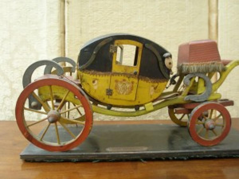 Scratch built folk art model of George II mail coach