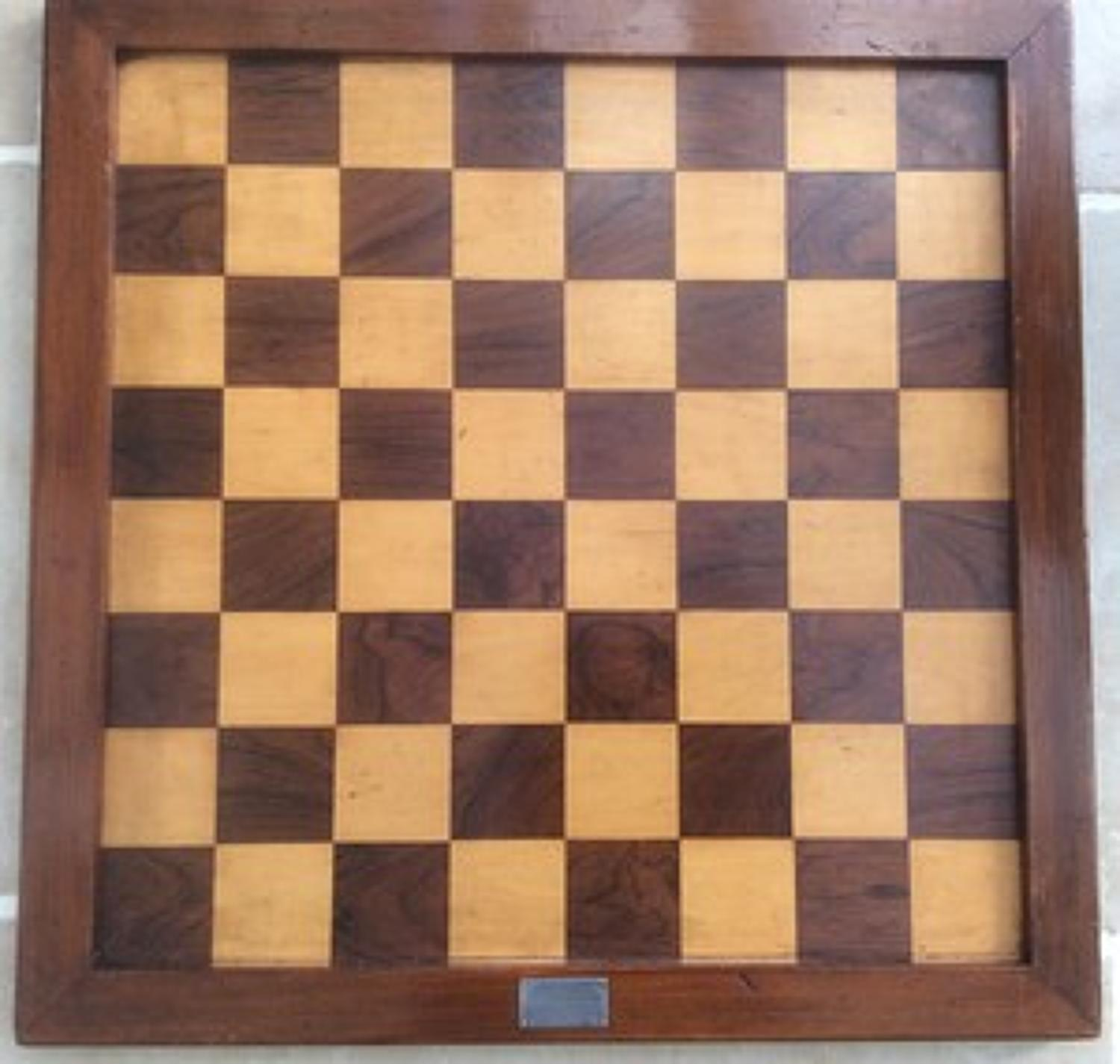 19th century Reform Club trophy chess board.  1st Prize