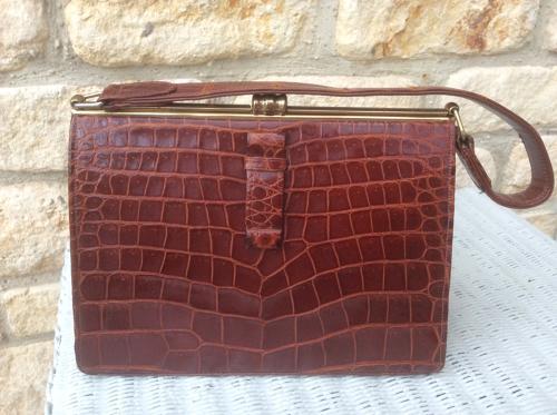 Vintage crocodile handbag Art Deco