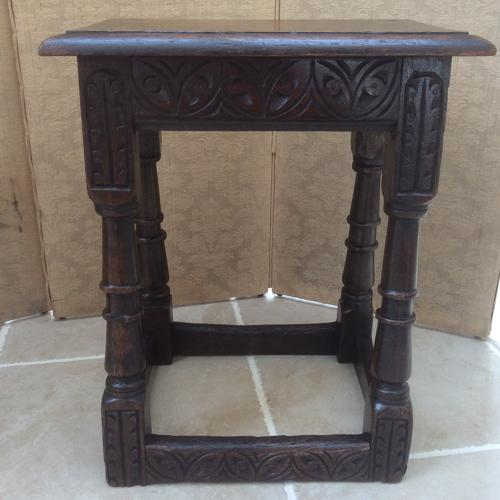 Early 17th century oak joint stool