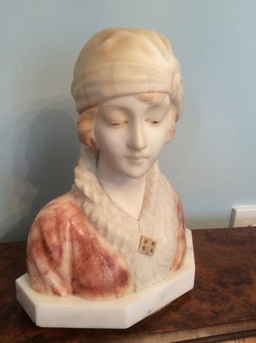 Italian carved bust c1920 - signed Trefalogni