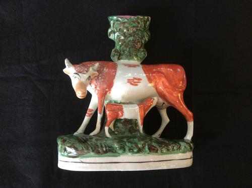 Staffordshire cow and calf figure