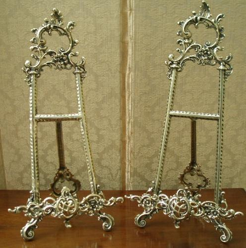 Pair of brass decorative easels
