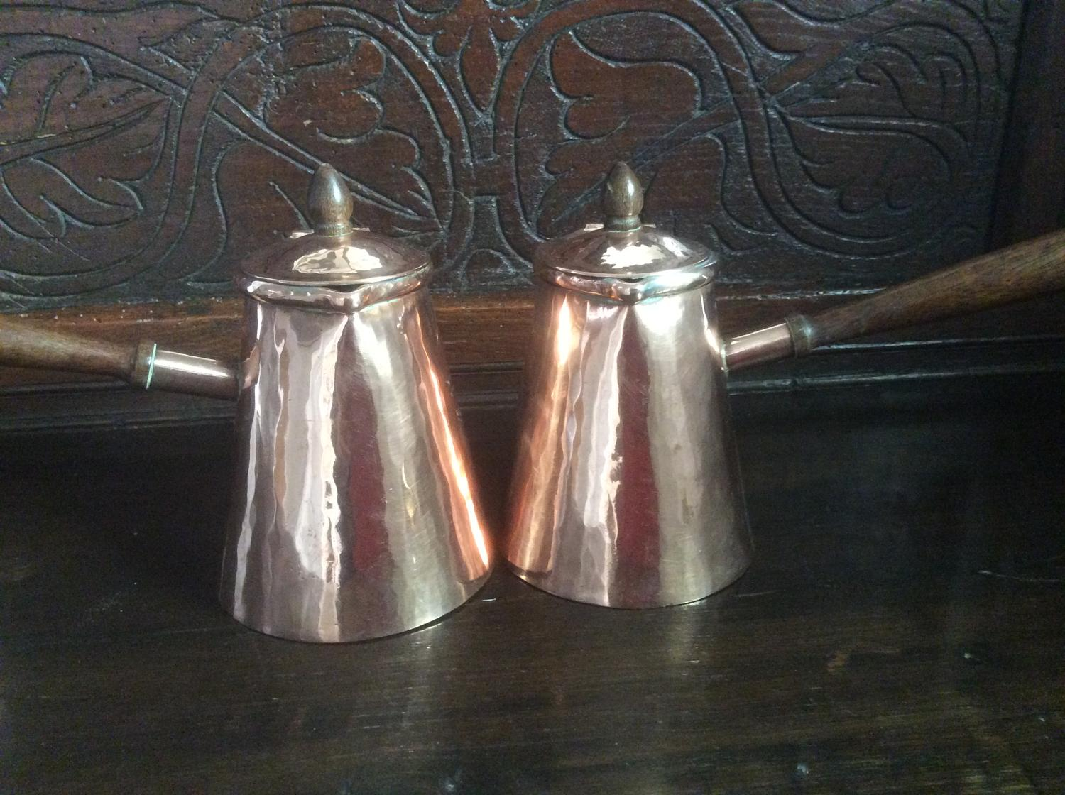 Pair of 19th century copper chocolate pots