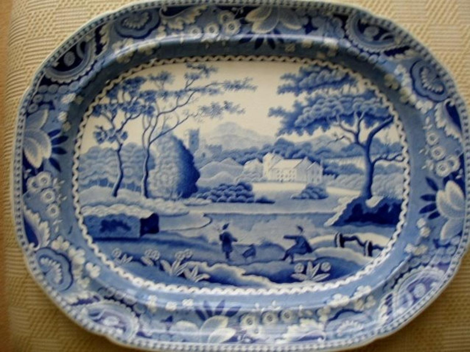 Lakeside Meeting - Blue and white 19th Century platter