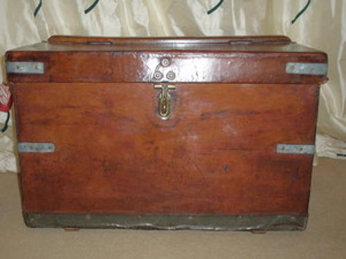 Vintage leather military travelling trunk