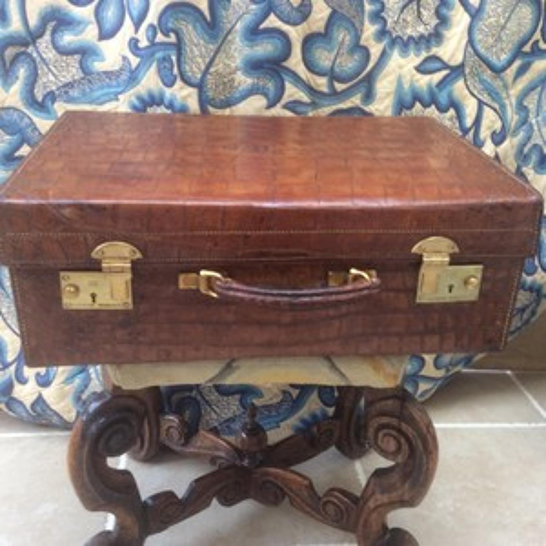 Vintage 1930s crocodile suitcase - Cleghorn of Edinburgh