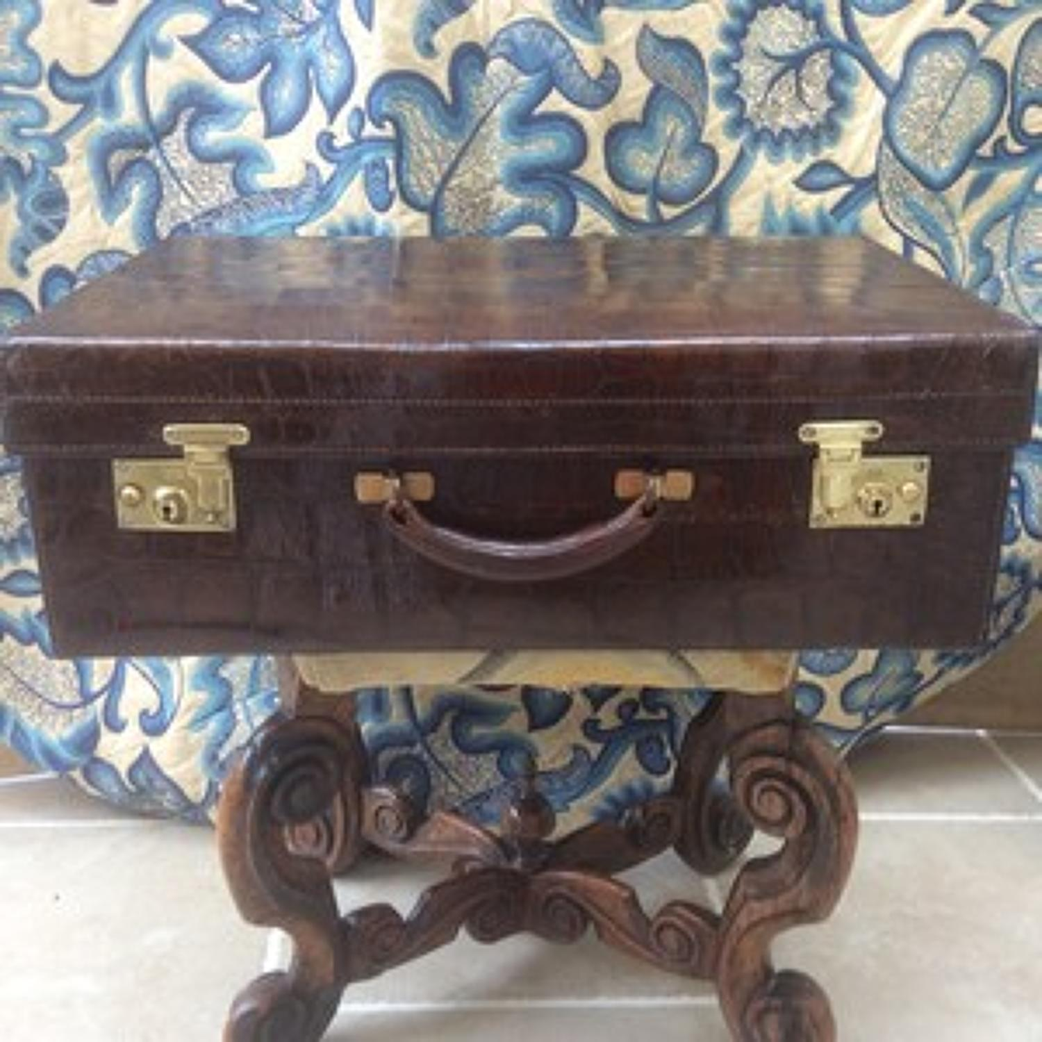 Vintage 1930s crocodile suitcase with brass locks