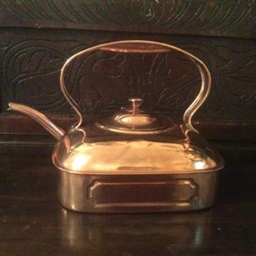 Square copper kettle, early 20th Century.