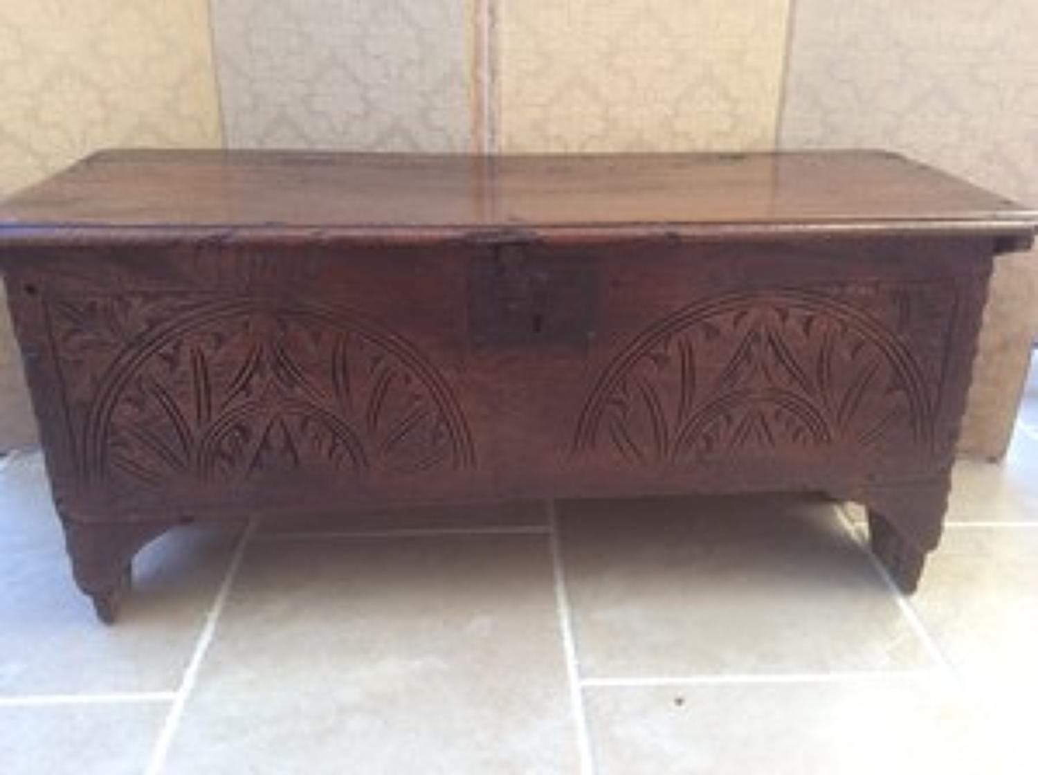 Restoration Period boarded elm chest