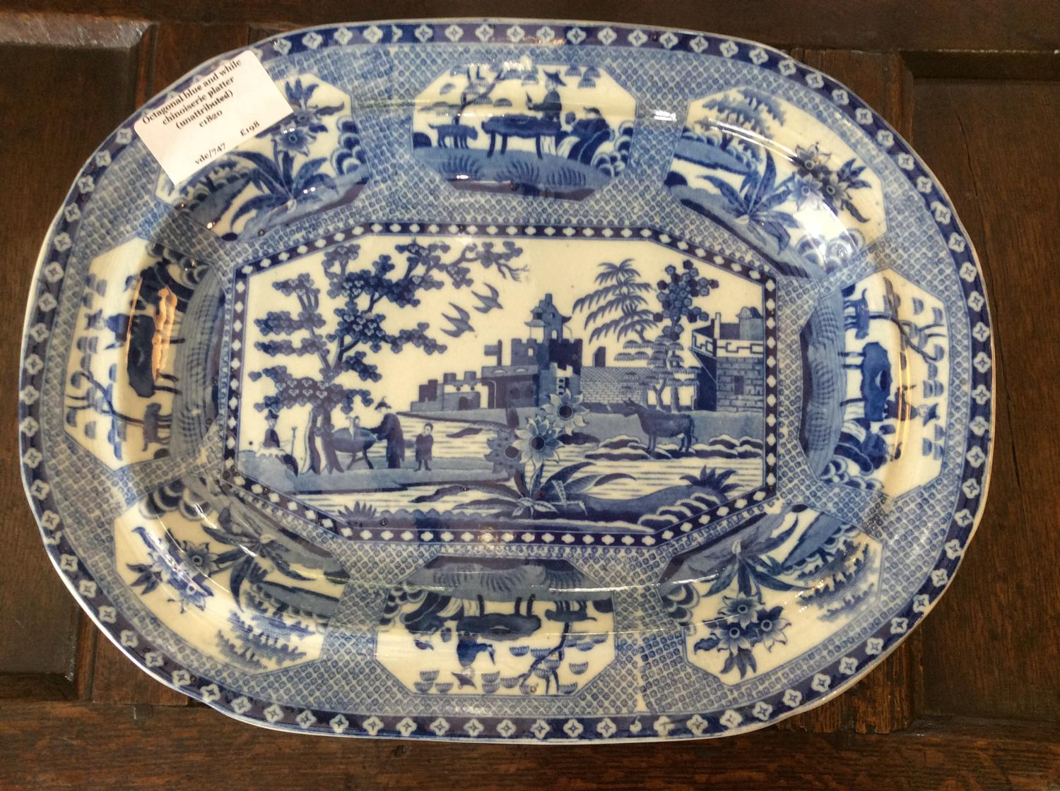 Blue and white chinoiserie transfer printed platter