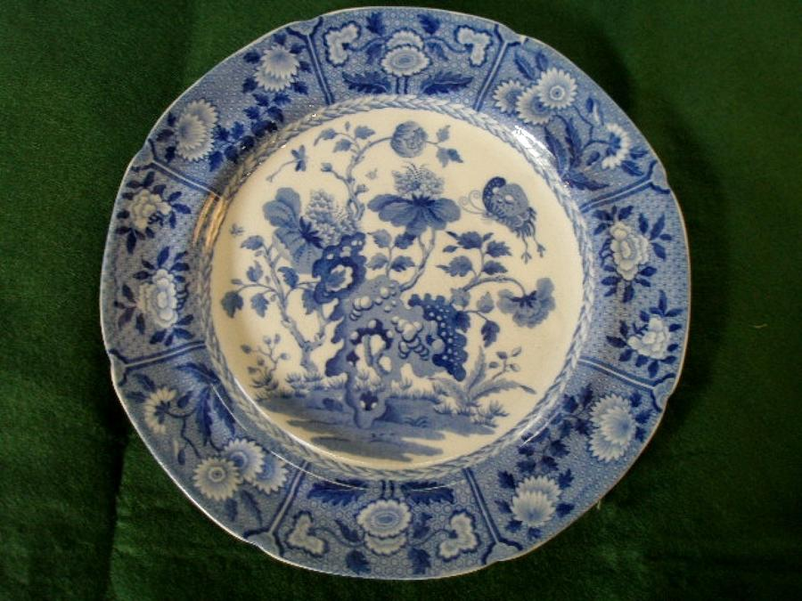 Spode India pattern transfer printed blue and white plate