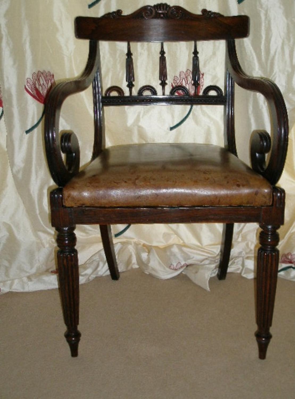 Regency period rosewood desk chair