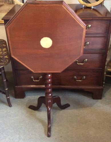 19th century mahogany tilt top tripod table