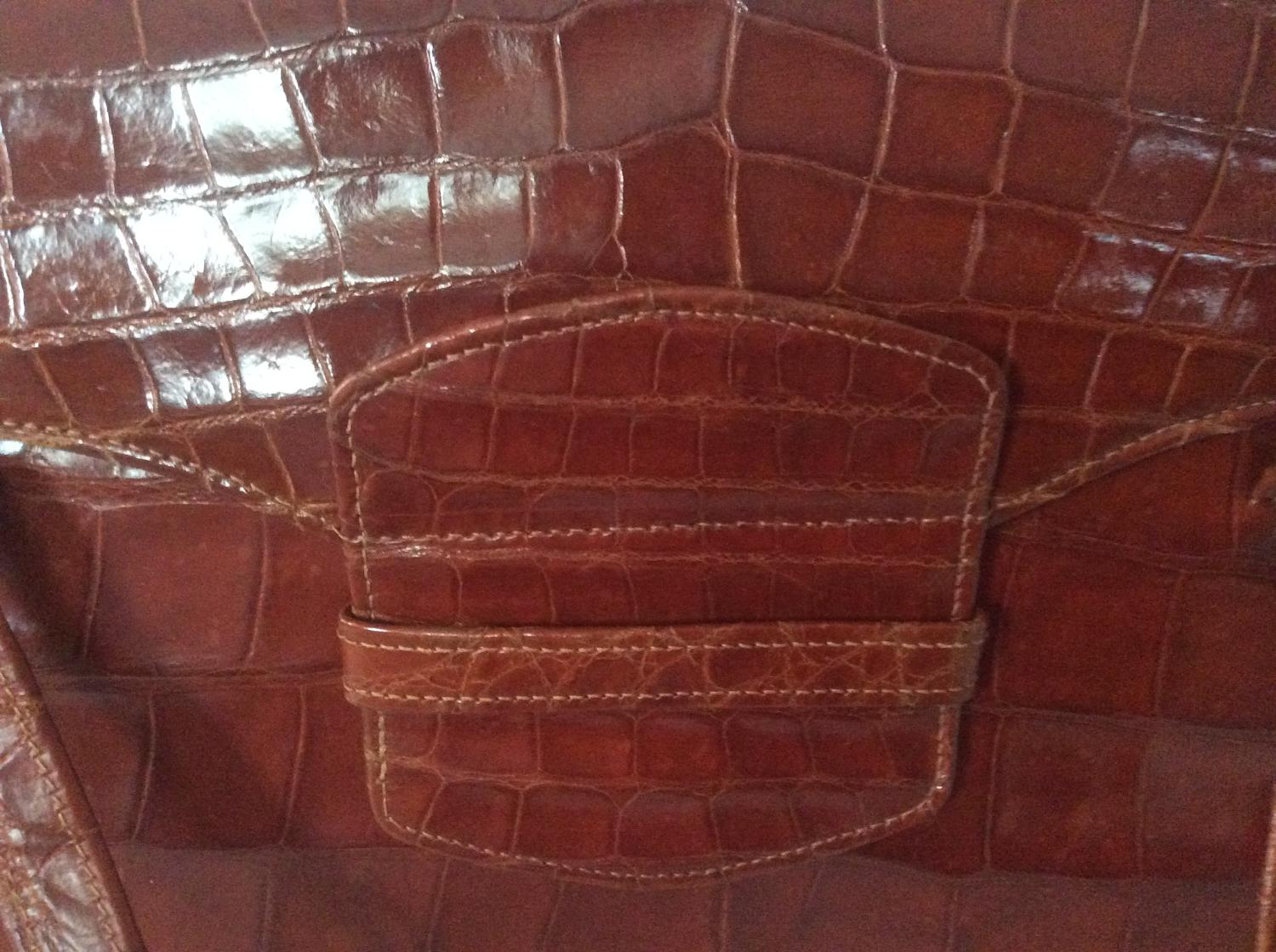 Vintage Art Deco 1930s crocodile handbag