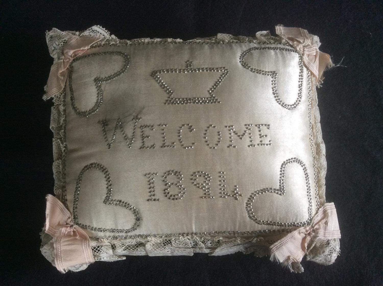 Victorian silk Christening pillow 1894