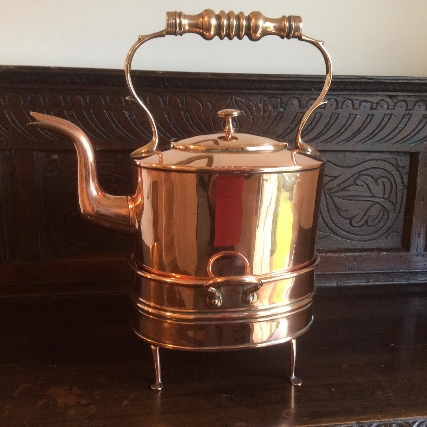 19th century copper  kettle with warming  stand