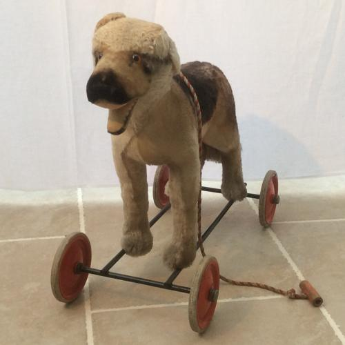 Vintage Steiff Dog on wheels c1950s