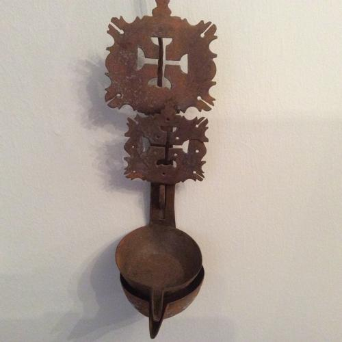 Late 18th/early 19th century steel crusie lamp