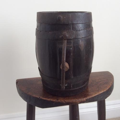 Late 18th century oak and iron bound costrel