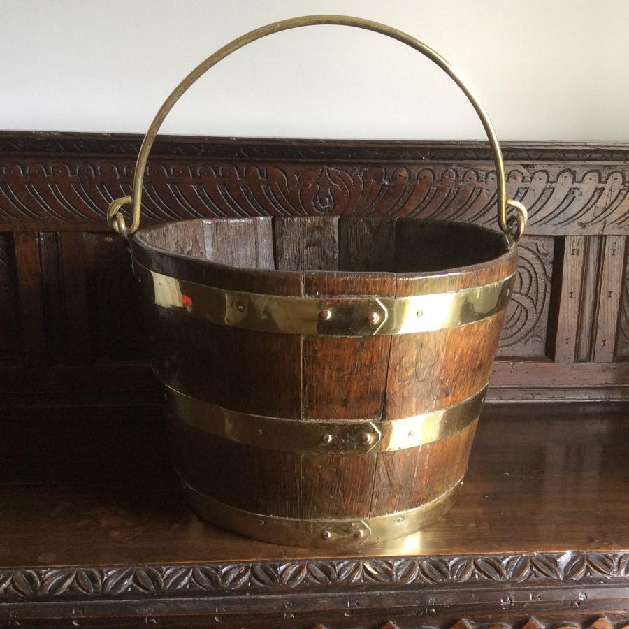 19th century oak and brass bound peat bucket