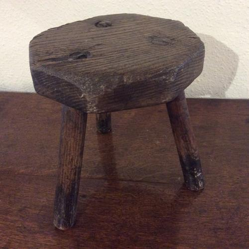 19th century elm country stool