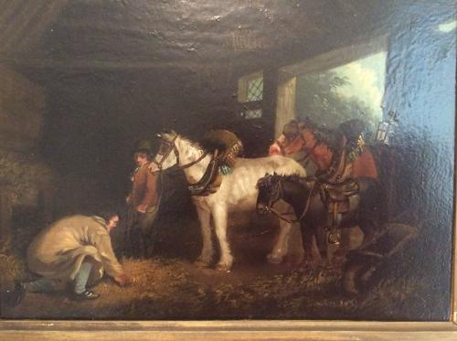 19th century oil on copper painting after George Moreland