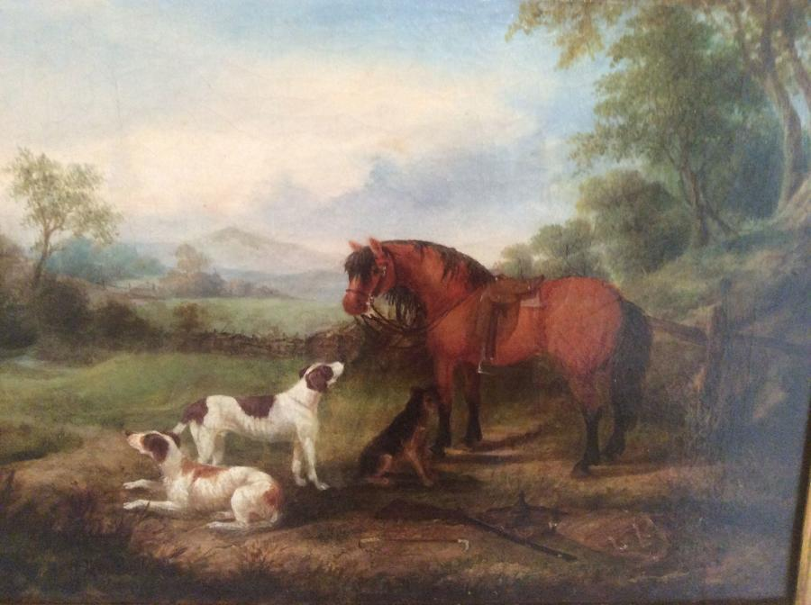 Naive 19th century oil on canvas, Horse and hounds