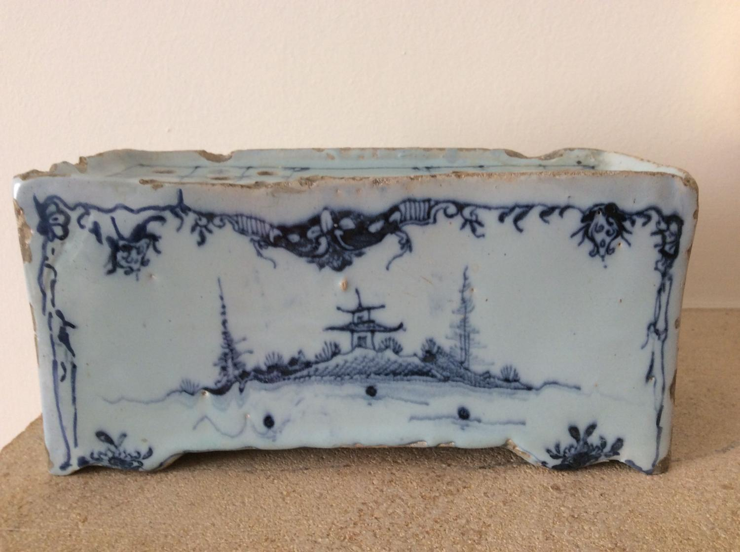 18th Century English Delft flower brick