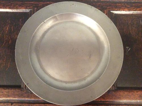 18th Century initialled pewter charger
