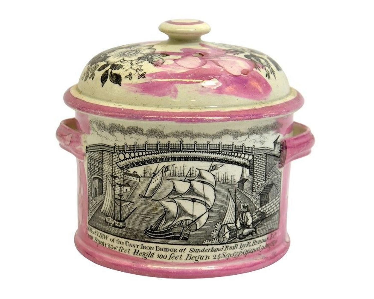 Early 19th Century Sunderland lustre pot and cover