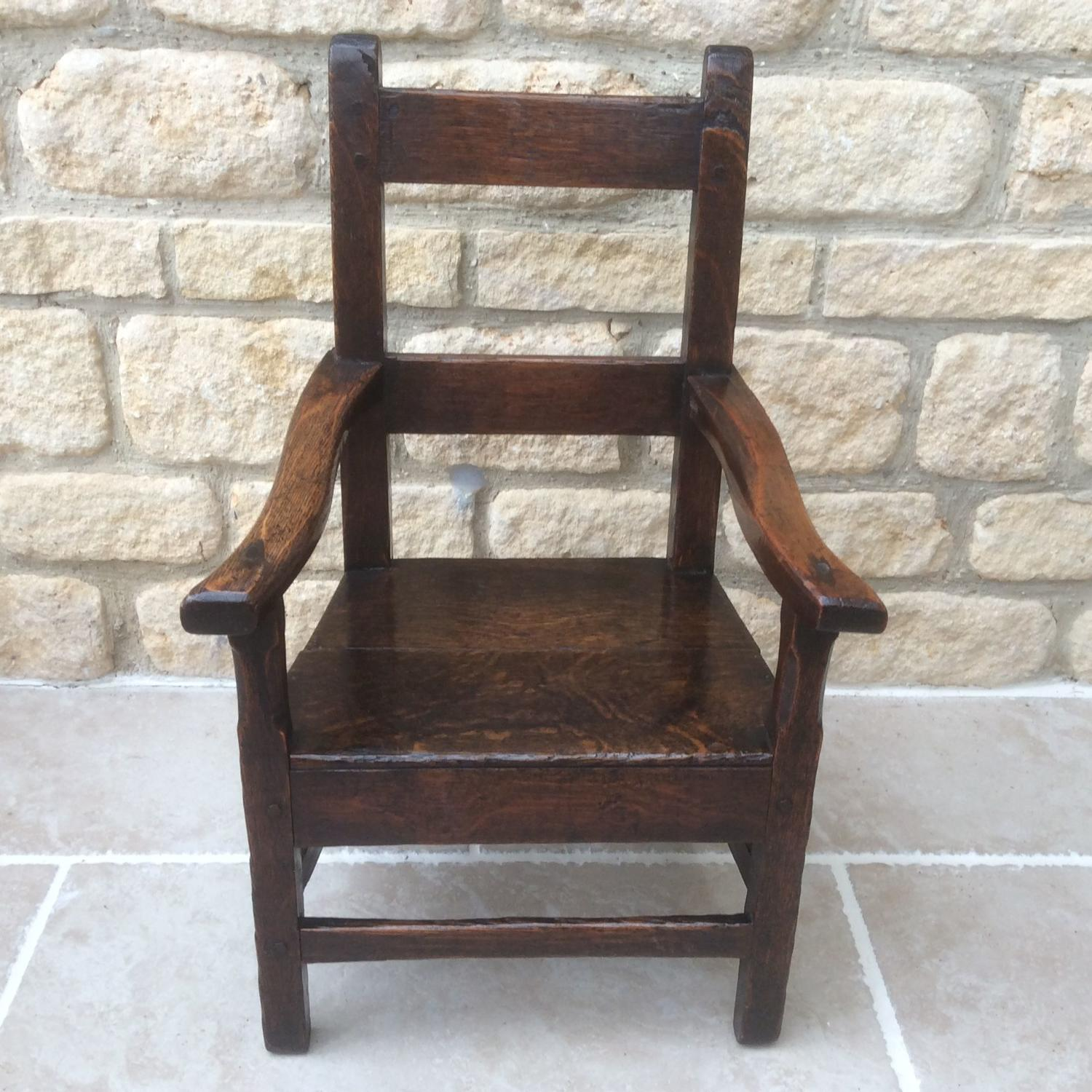 Georgian oak child's armchair