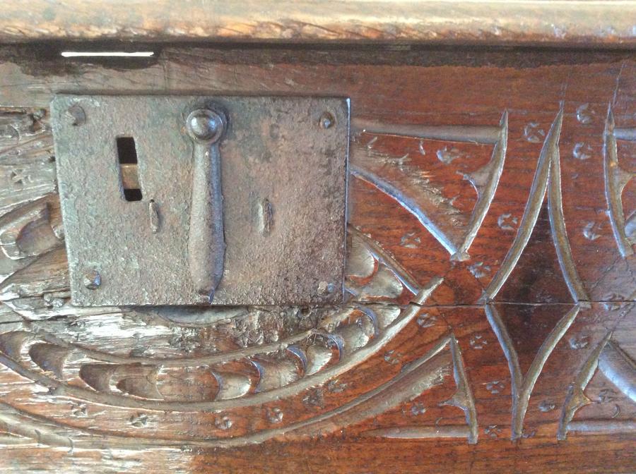 17th Century Oak Bible Box with polychrome paint