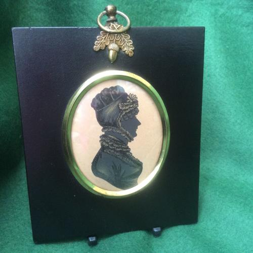 19th Century Silhouette of lady with bonnet