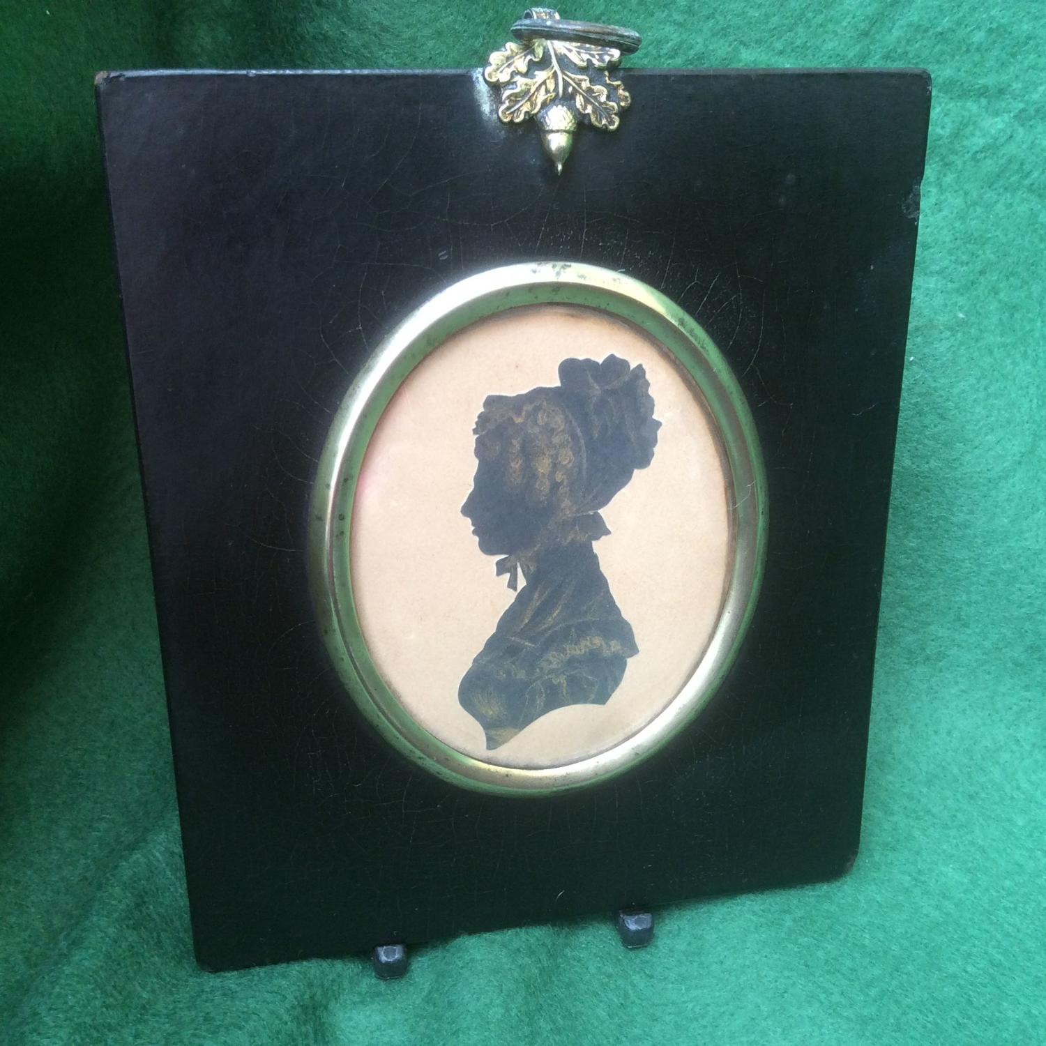 19th Century Silhouette of a young lady with bonnet