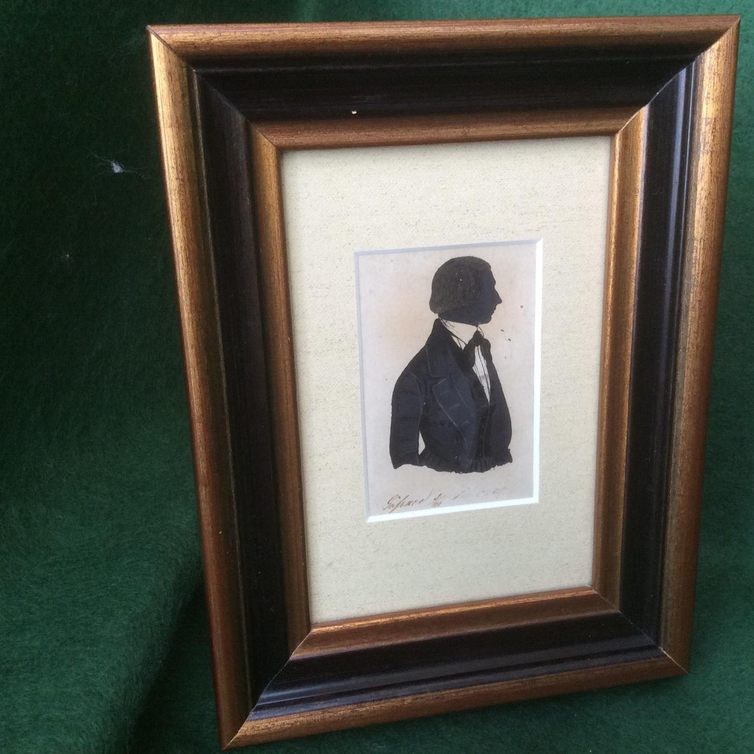 19th Century Silhouette of a gentleman, signed.