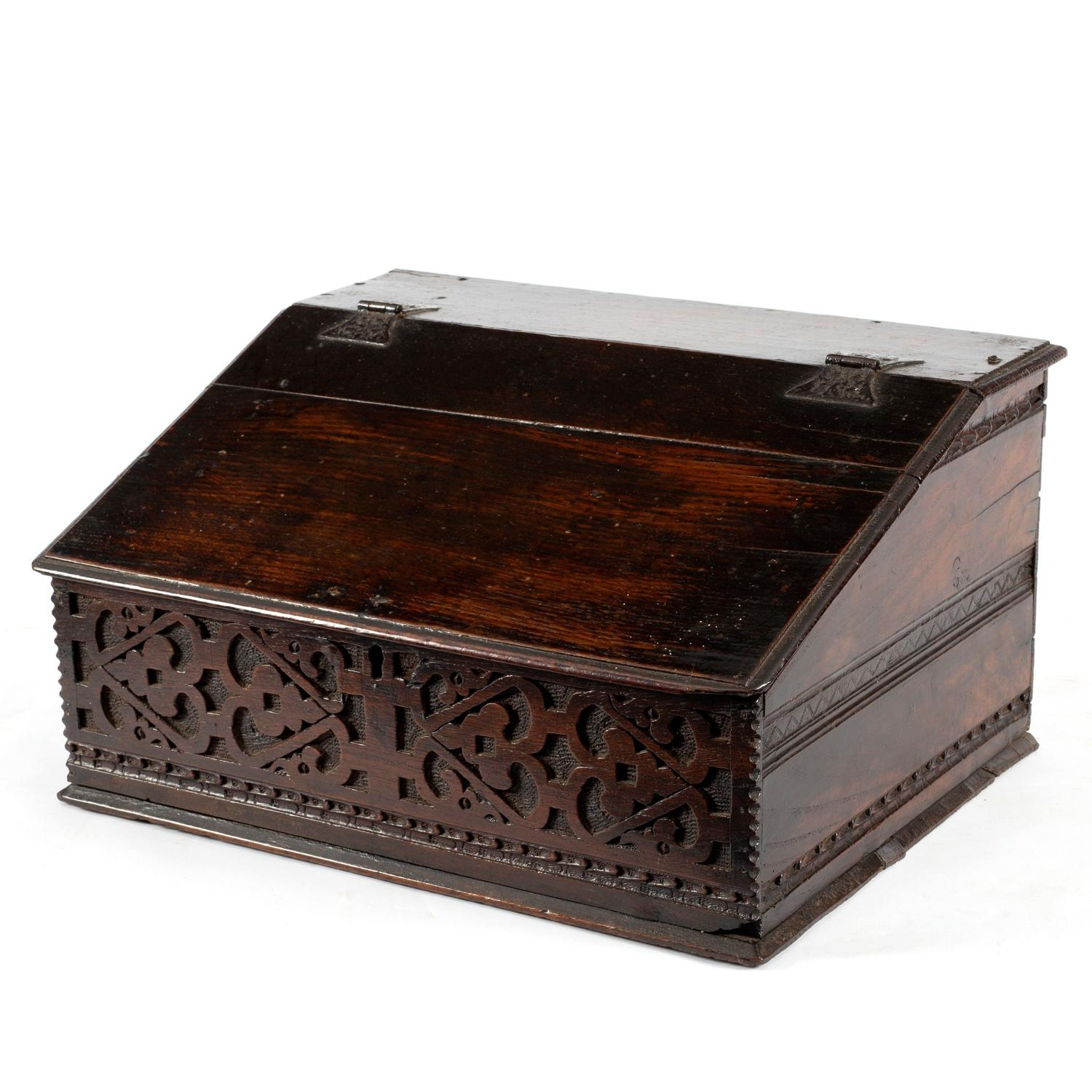 17th  Century Oak carved desk/bible box