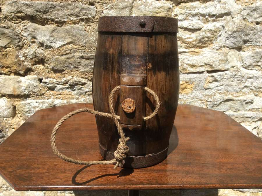 19th century oak harvest costrel
