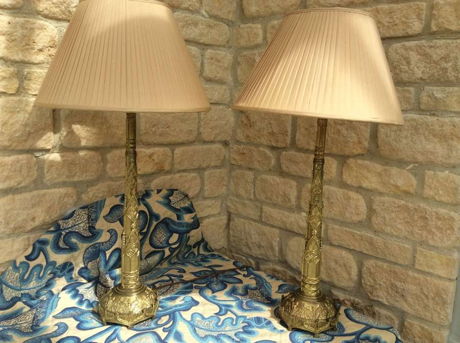 Pair of decorative gilt brass table lamps
